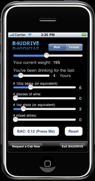 Screen Shot of B4UDRIVE iPhone Application